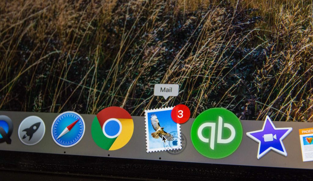 notifications bubble on email application in task bar