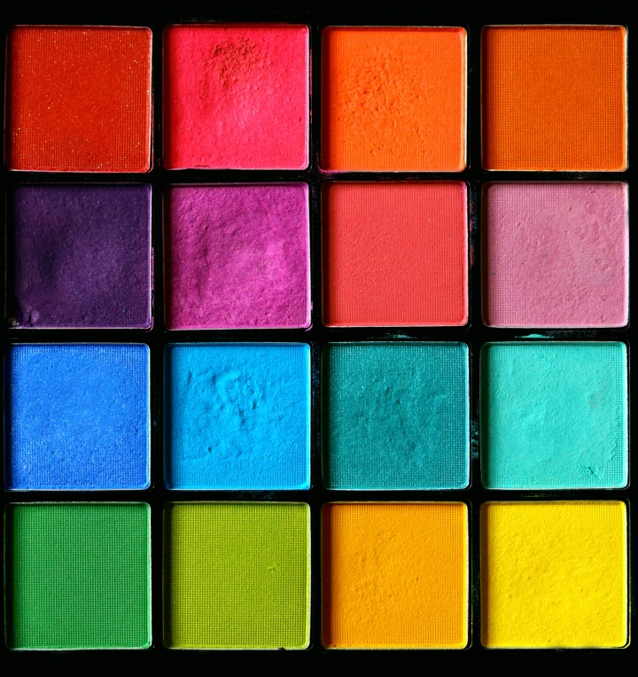 color palette of 16 different colors and shades