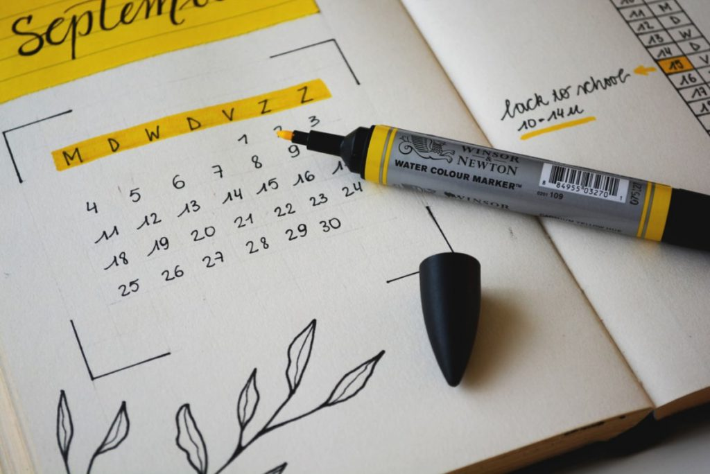 calendar with highlighting